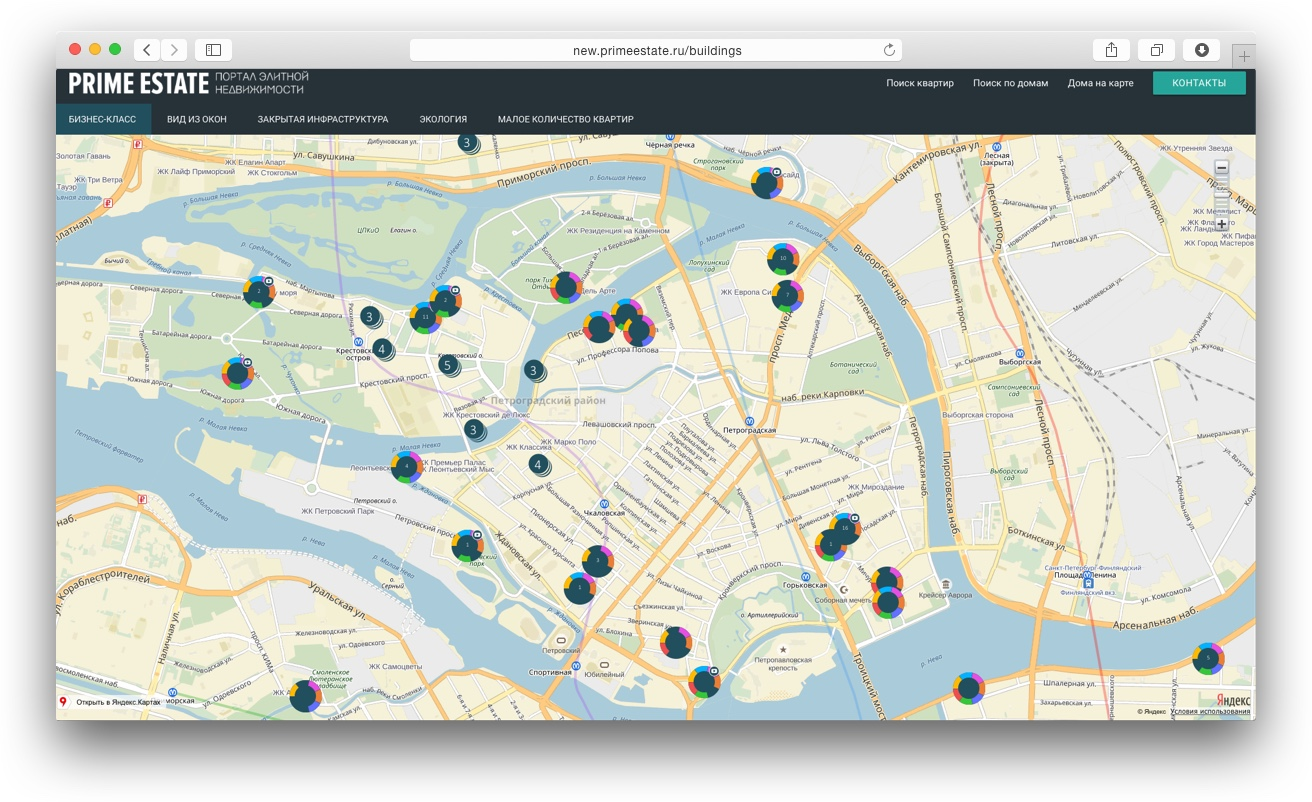 Интерактивная карта элитной недвижимости Санкт-Петербурга